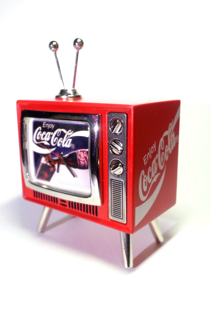 Coca Cola mini TV Shaped Desk Clock (Enjoy Coca-Cola) - Tested Works - New In
