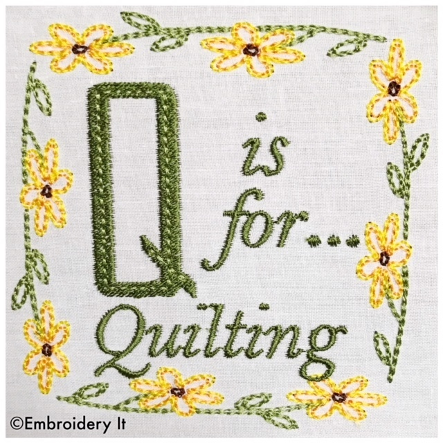 Embroidery Words Alphabet Letter Q - Machine Embroidery Design in Pes, Dst, Exp,