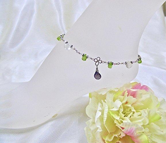 Gemstone Briolettes Ankle Bracelet in Sterling Silver