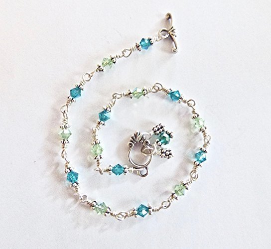 Shades of Greens Ankle Bracelet in Sterling Silver