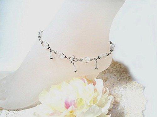 Sparkling Quartz Crystal Sterling Silver Ankle Bracelet