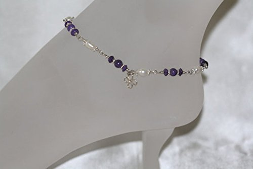 Sugilite & Pearl Dreams Wire Wrapped Ankle Bracelet