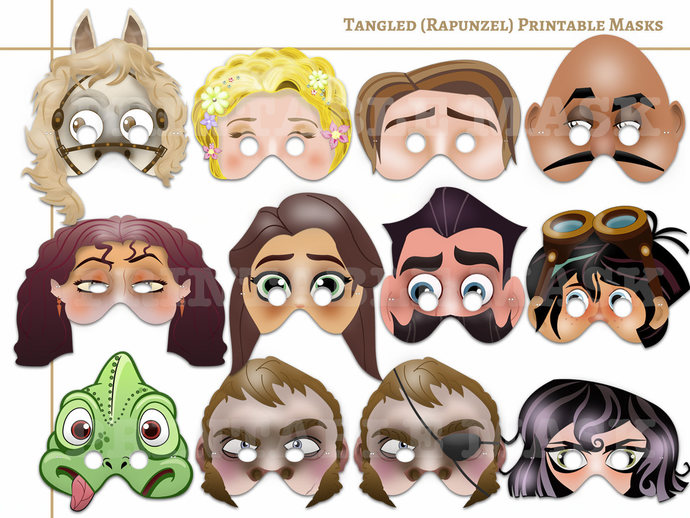 graphic about Printable Masks referred to as Distinctive Tangled(Rapunzel) Printable Masks, mask, Rapunzel birthday, get together decoration, printable masks, little ones costume up perform, paper gown, Do it yourself