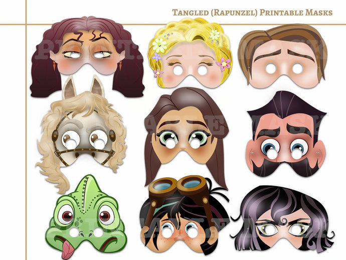 Unique 9 Tangled(Rapunzel) Printable Masks, Rapunzel birthday, party decoration,