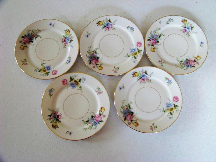 Heinrich H & Co Selb Bavaria Germany Set Of 5 Floral Dessert Plates Pattern