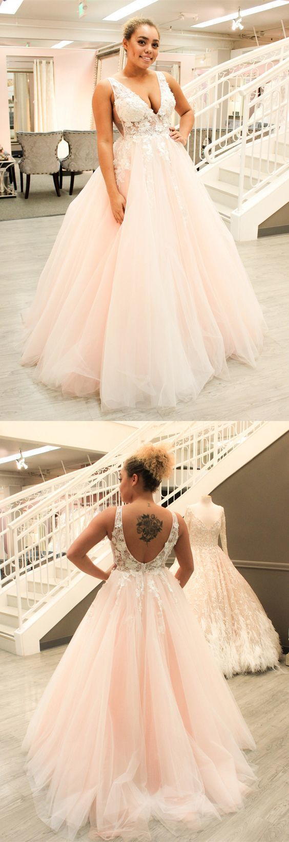 princess long prom dress, 2018 prom dress, pink prom dress, v neck prom dress,