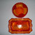 Amberina Crackle Folded Glass Round Bowl And A Last Supper Bread Plate