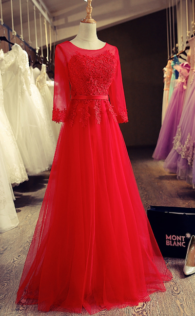 Charming Prom Dress,Red Tulle Prom Dresses,Appliques Homecoming Dress