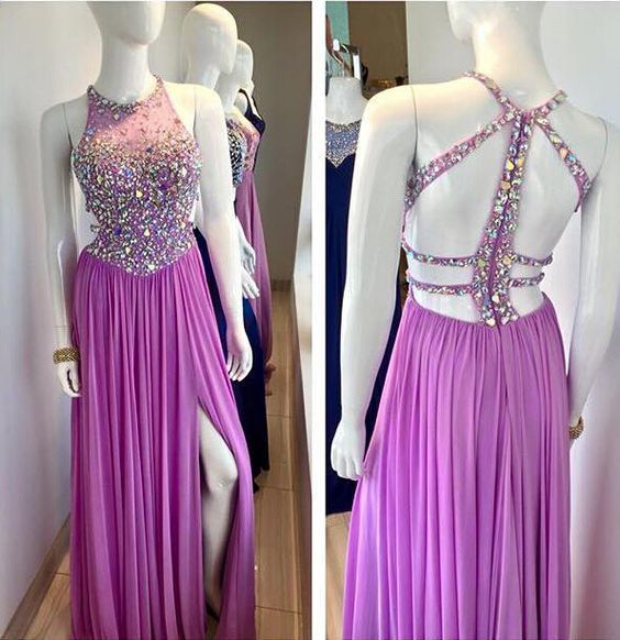 Beaded Prom Dresses,Beading Prom Dress,Black Prom Gown,2 Pieces Prom