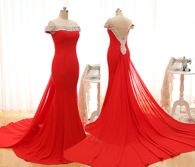 Sexy Off Shoulder With Sequin Pearls Long Crystal Red Mermaid Prom Dress,Red