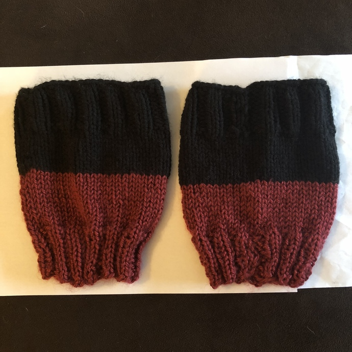 Boot Cuffs - Reversible - Black and Cranberry