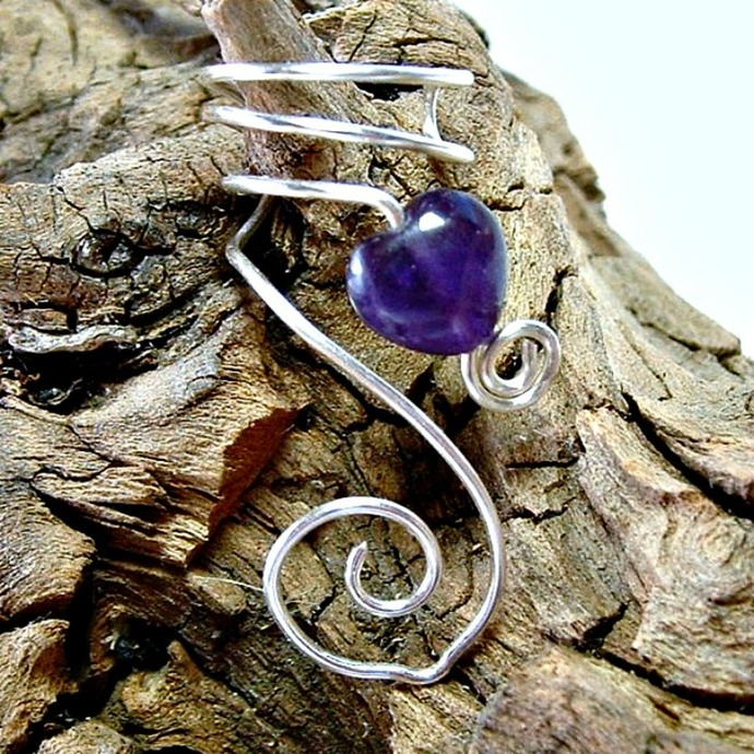Amethyst Celtic Heart Ear Cuff, No Piercing Required