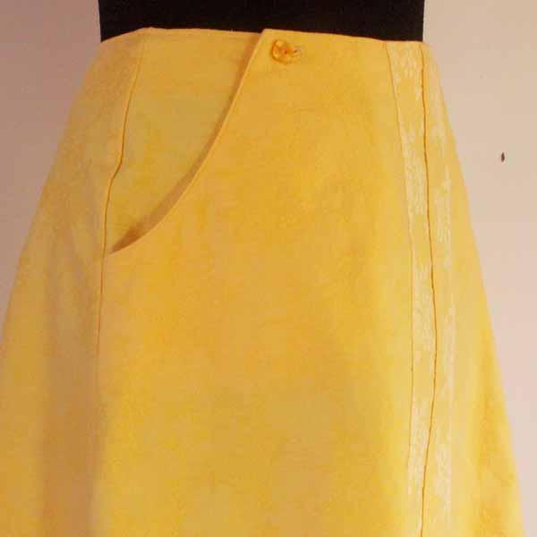Yellow / Floral No-Zipper Skirt