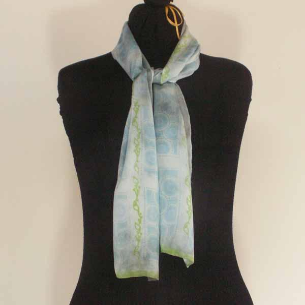 Hand-Dyed Silk Scarf -  Blue / Gray