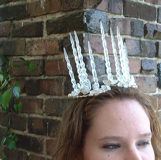 Narnia White Witch Jadis Icicle Crown, Winter Crystal Snow and Ice Tiara