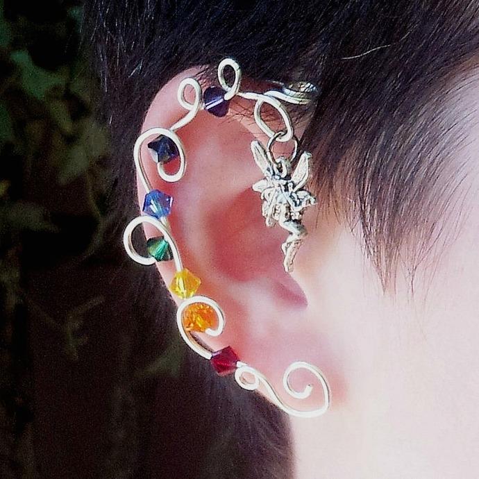 Rainbow Crystal Vine Ear Cuff  Wrap Fairy