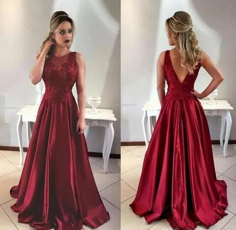 2018 New Sexy Open Back Burgundy Evening Dresses Long A Line Modest Lace 572439e18