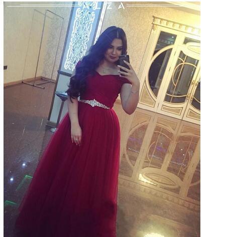 b6ea062314a Burgundy Prom Dresses With Crystal Belt Elegant A Line Off The Shoulder  Tulle