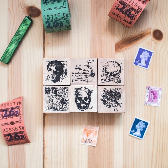 Anatomy series: City Map - decorative wooden planner stamp suitable for