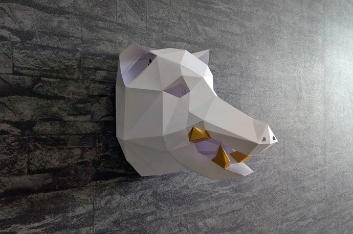 DIY Papercraft Boar Head Trophy3d PapercraftLowpolyPaper SculptureWall