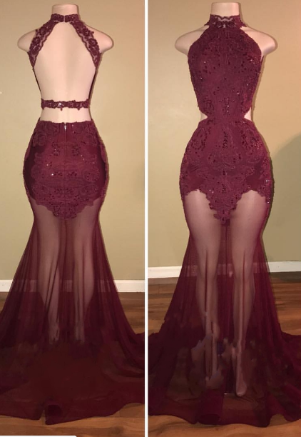 e71e099df3b Mermaid See-Through Elegant 2018 Prom
