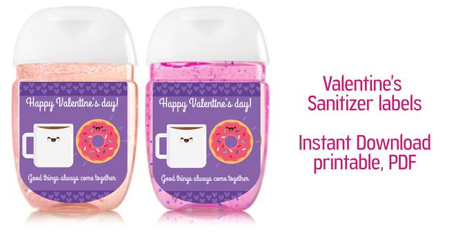 Valentine sanitizer labels, sanitizer label 1oz, pdf -  Friends- pocket bac