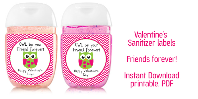 Valentine sanitizer labels, sanitizer label 1oz, pdf -  Friends- pocket bac