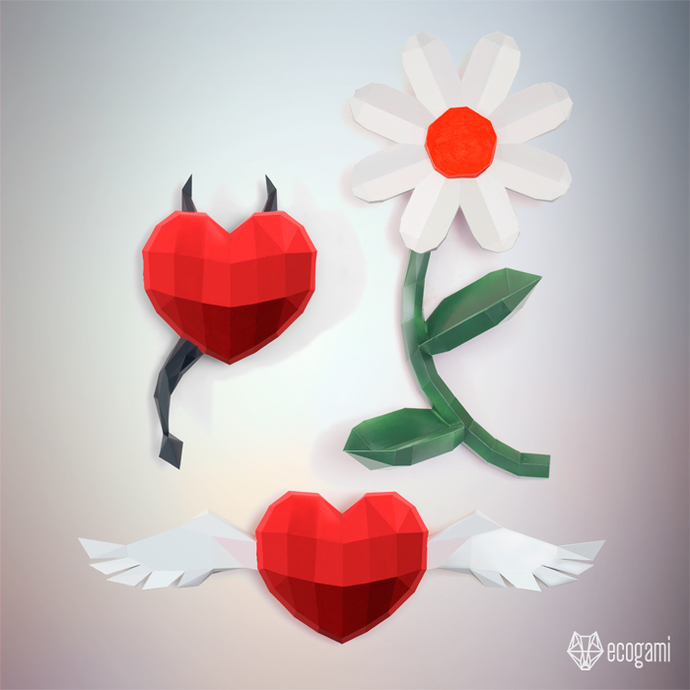 Pack of three Saint Valentine's papercrafts: flower, devil heart & heart with