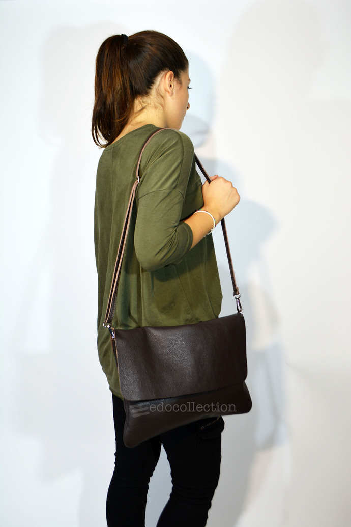 Leather Bag Cross Body Bag Womens Leather Dark Brown Shoulder Bag Leather