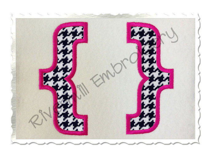 Applique Brackets Machine Embroidery Design - 4 Sizes