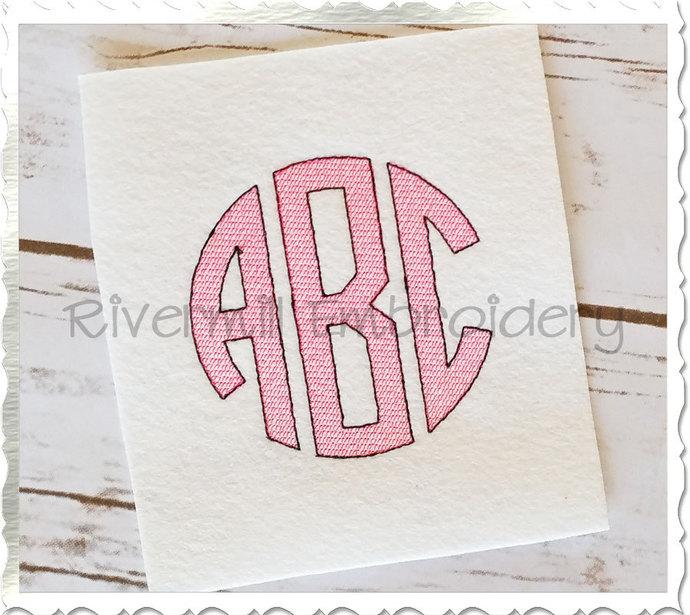 vintage style circle 3 letter monogram machine embroidery font alphabet 3