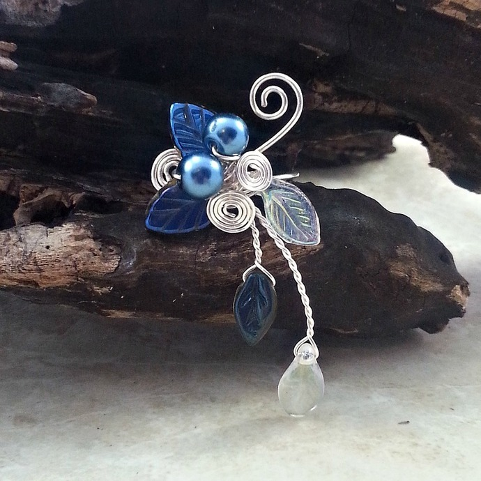 Blue Woodland Ear Cuff Climber