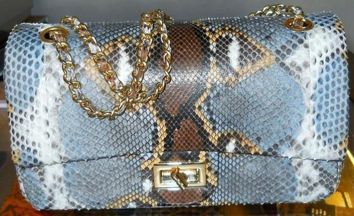 Handmade python leather bag with chain