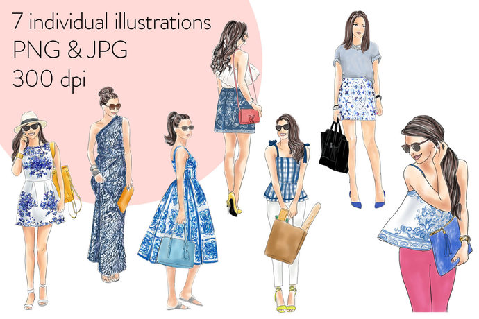 Girls in Blue Print - Light skin watercolour fashion clipart