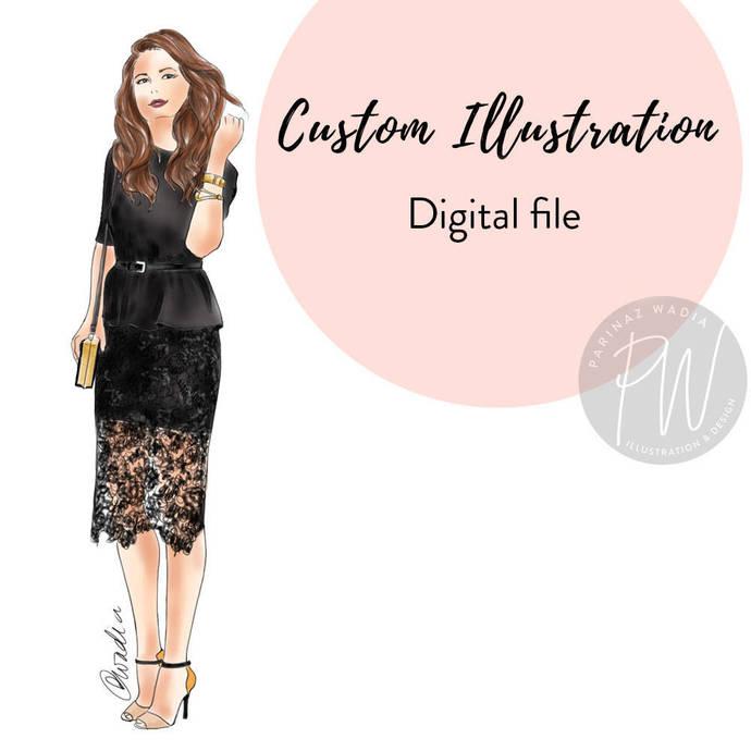 Watercolor Custom Illustration, fashion illustration, watercolour illustration,
