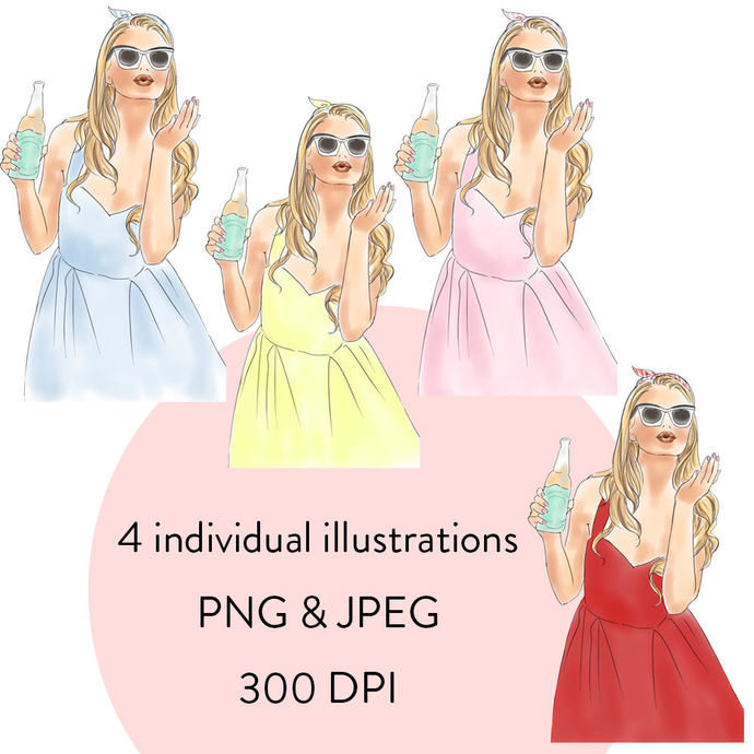 Soda  Pop Girls watercolour fashion clipart