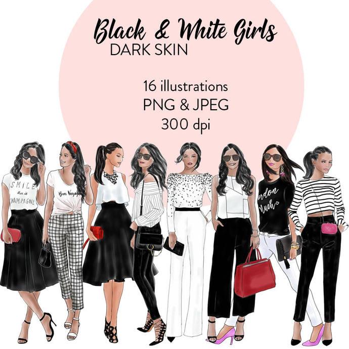 Black & white girls 1 - Dark Skin watercolour fashion clipart