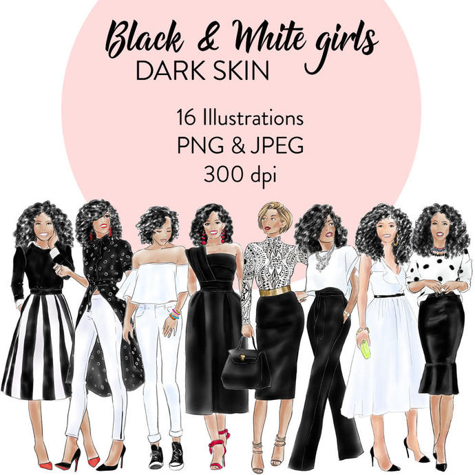 Black and white girls- dark skin