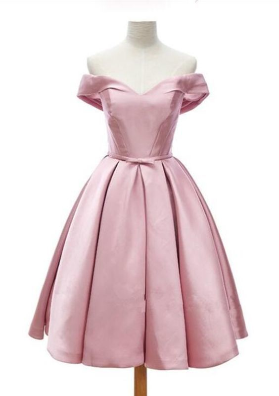 Cute Pink Satin Homecoming Dresses, Satin Short Prom Dresses, Knee Length Off