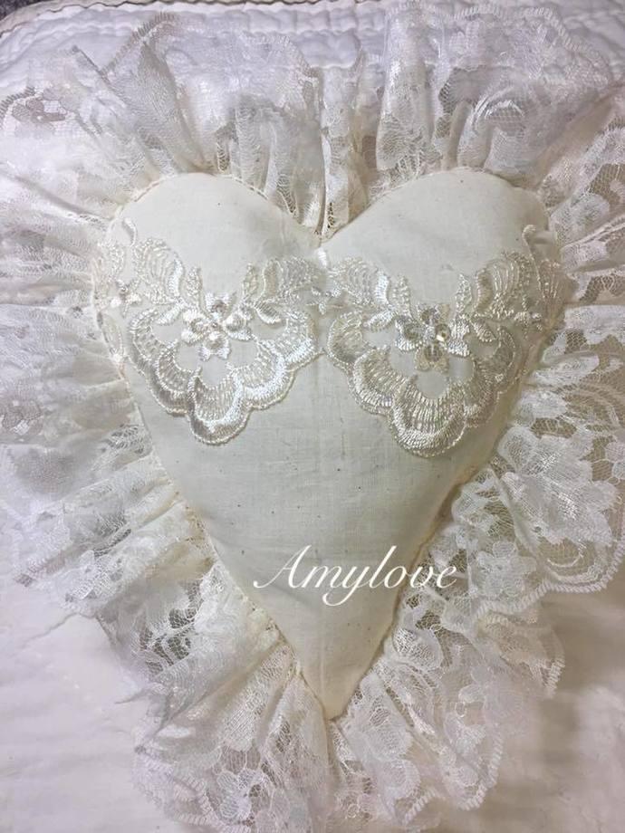 Shabby Chic Heart Pillow