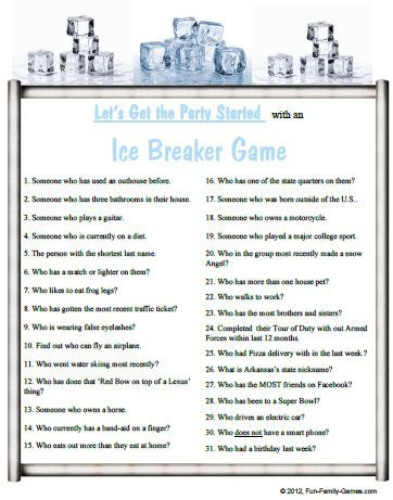 four ice breaker party games by printable trivia games on zibbet