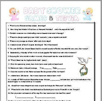 Baby Shower And Baby Trivia Games By Printable Trivia Games On