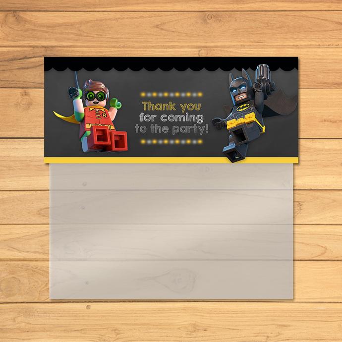 Lego Batman Treat Bag Topper Chalkboard Yellow Black * Lego Batman Movie Candy
