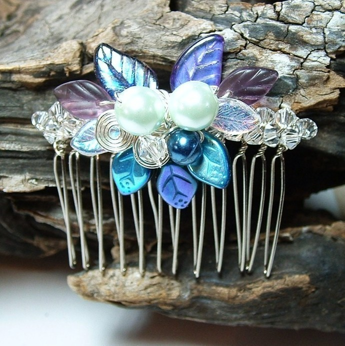 Wedding Hair Comb Moonlight Blue Fairy Bower