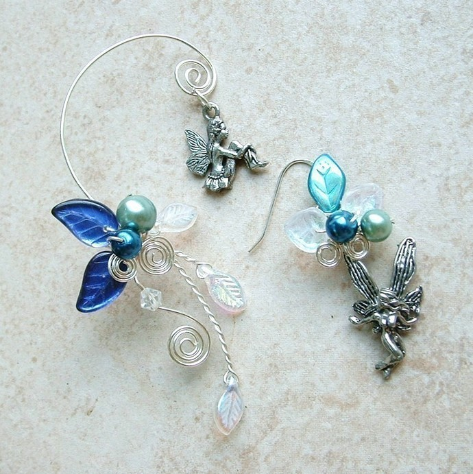 Fairy Bower Ear Cuff Earring PAIR Moonlight Blue