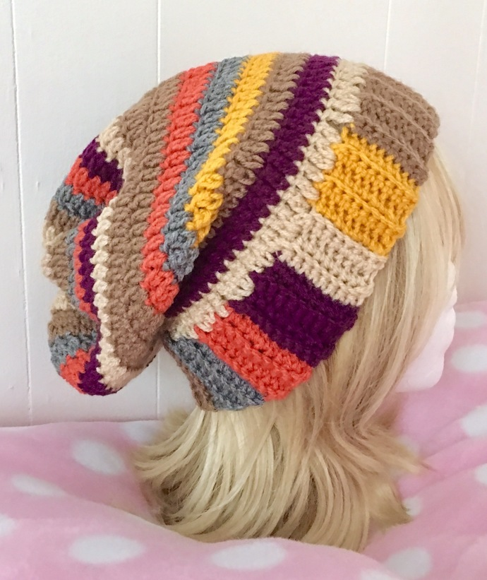 READY TO SHIP Tom Baker Scarf Inspired Slouchy Hat - Women, Teens, Cosplay