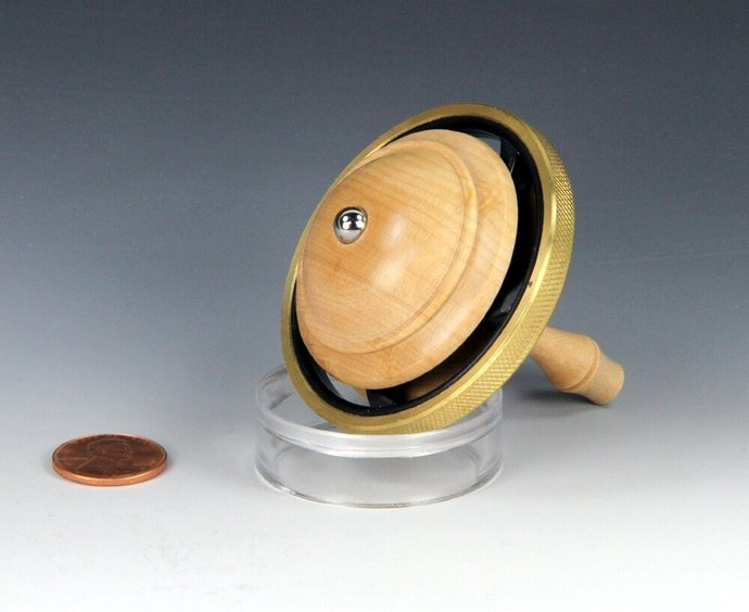 World's First Spin Top & Fidget Spinner, Melded Into One - Lathe Turned Maple