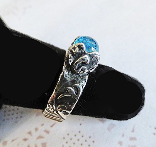 Fine Silver Turquoise Dichroic Ring