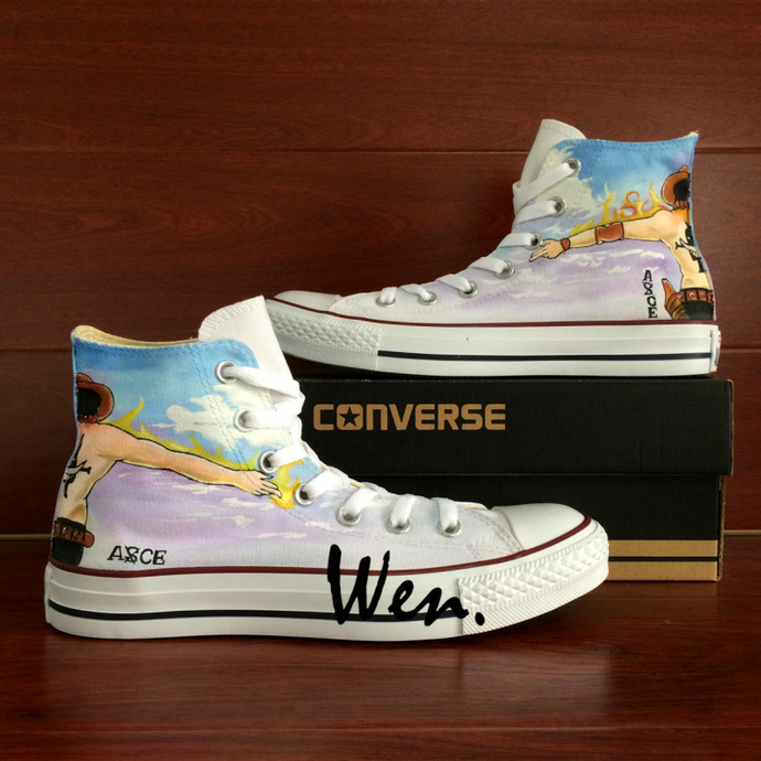 b7422db9af5d Anime Converse All Star Custom Design Hand Painted Shoes One Piece Ace  Graffiti