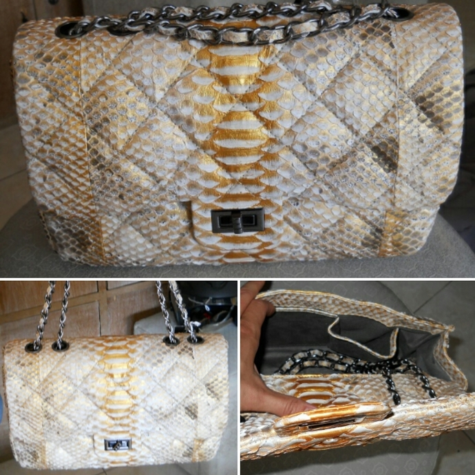 Handmade python leather bag with chain